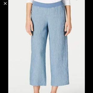 J. Jill Love Linen Pull on elastic cropped pants